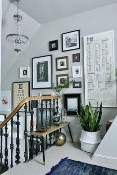 Hallway walls, stair walls, hallway decorating, entry hallway, stairs and h Hallway Art, Hallway Walls, Hallways, Hallway Ideas, Entry Hallway, Pictures In Hallway, Stair Landing Decor, Staircase Landing, Gallery Wall Staircase