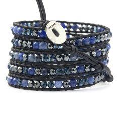 Chan Luu - Sodalite Mix Wrap Bracelet on Natural Black Leather, $195.00 (http://www.chanluu.com/wrap-bracelets/sodalite-mix-wrap-bracelet-on-natural-black-leather/)