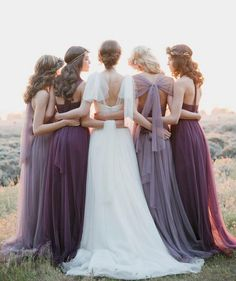 long tulle shades of purple bridesmaid dresses with gorgeous backs