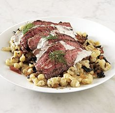 Grilled Steak & Peppered Spaetzle with Black Trumpet Mushroom sand Shallot Marmalade-- sounds fancy and amazing.
