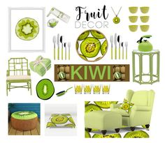 """Fruit Decor: Kiwi"" by southindianmakeup1990 ❤ liked on Polyvore featuring interior, interiors, interior design, home, home decor, interior decorating, Portfolio, PTM Images, Zak! Designs and Villeroy & Boch"