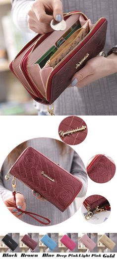 Sweet Girl's PU Rose Embossed Phone Wallet Double-bagged Ziplock Purse Clutch Bag for big sale !#rose #sweet #wallet #pu #clutch #purse