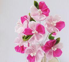 Pink Sakura Blossom Tsumami Kanzashi Silk Flowers