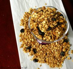 LOW FAT CHERRY CINNAMON GRANOLA ● 1 1/2 cups rolled oats; ● 1/2 cup Honey Nut Cheerios; ● 1/2 cup Puffed Rice Cereal; ● 1/4 cup wheat bran; ● 1/4 cup mixed unsalted nuts; ● 2T brown sugar; ● 2 tsp ground cinnamon; ● 1/4 tsp salt; ● 1/2 cup natural applesauce; ● 1/2T vegetable oil; ● 1/4 cup dried cherries, chopped. Preheat oven 300°. Line baking sheet with parchment. Mix together all ingredients except the cherries. Pour on baking sheet. Bake 35-40 min, stirring every 10 min. Cool; add…