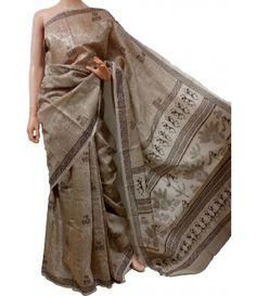 Brown Mulbary Muga Silk Warli Print Saree