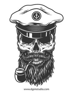 Tattoo Old School Skull Vintage - Tattoo Tatoo Pirate, Pirate Skull Tattoos, Pirate Tattoo Sleeve, Tattoo Old School, Skull Illustration, Halloween Illustration, Skull Tattoo Design, Skull Design, Chicano Style Tattoo