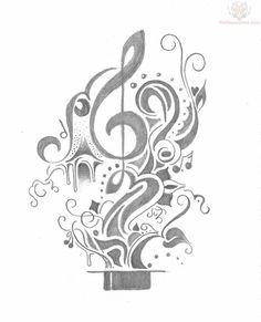 Music Tattoos Design Sketch, Dreamcatcher Tattoo For Men Tattoo Drawings, I Tattoo, Note Tattoo, Tattoo Flash, Tattoos For Guys, Cool Tattoos, Awesome Tattoos, Zombie Girl, Music Tattoos