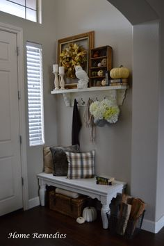 Entryway decorated for fall