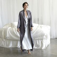 Silk gown and robe to lounge around inside all morning long.