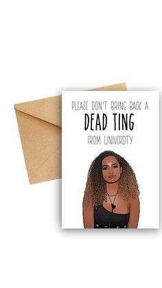 Amber Love Island 'Dead Grade' university greeting card. The greeting card is ideal for students heading to University.