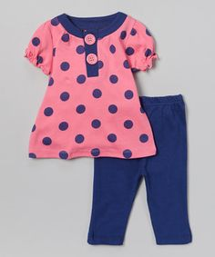 Another great find on #zulily! Pink & Blue Polka Dot Tunic & Leggings - Infant by bon bébé #zulilyfinds