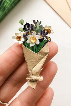 Carry a Bouquet on Your Finger Thanks to These Tiny Paper Flowers Paper Flowers Diy, Diy Paper, Paper Crafts, Folded Book Art, Book Folding, Book Sculpture, Paper Sculptures, Paper Artwork, Tiny Flowers