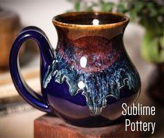 Cobalt Electric Wave mug by Amanda Joy Wells of Sublime Pottery Wells, Experiment, Glaze, Cobalt, Amanda, Overalls, Thursday, Cups, Electric