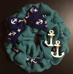 Nautical Burlap Wreath Anchors Me Teal