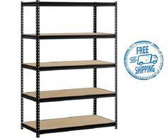 Muscle Rack Steel Shelves Storage 48W 24D 72H Heavy Duty Shelf Black Shelving #Edsal