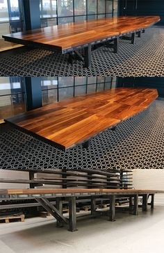 The Master Artisan Table - a huge industrial style table handmade with premium wood and steel. Sure to be the talking point of any meeting or boardroom.