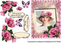 This is a really pretty 3D decoupage card front front for many reasons.  It has 3 pretty labels, the first one is blank for your own greetings, the there is Happy Birthday and Please Get Well  The design is very easy to make with beautiful roses and added butterflies to use where you like.enjoy.