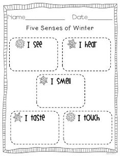 """""""Five Senses of Winter"""" Activity - cute to write a winter cinquain poem after brainstorming"""