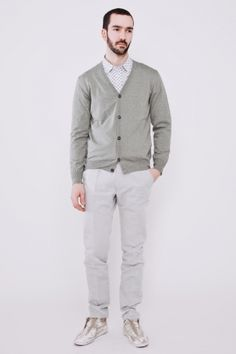 shirt + sweater + color combo. yes. ++ cotton cardigan salvia ++ maison martin margiela