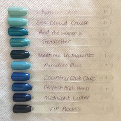 Red carpet manicure gel swatches blues and turquoise colours