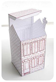 Boite cadeaux maison à colorier