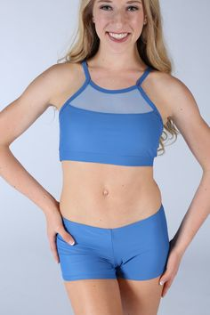Blue Audrey Top with Blue Hip Bootie Shorts