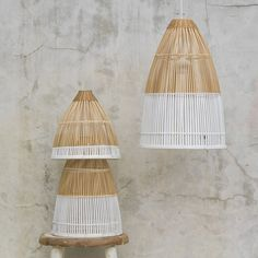 Dassie Set Of 3 Dipped Bamboo Lights  - Trouva Bamboo Light, Bamboo Pendant Light, Small Pendant Lights, Pendant Lighting, Bamboo Ceiling, Bamboo Lamp, Interior Lighting, Lighting Design, Lighting Ideas