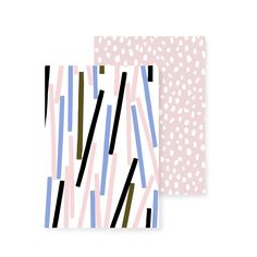 A set of two notebooks Designers: Konfetti by Hanna Konola Tihku by Hannele Äijälä Size: with 36 white pages Eco-friendly inks, paper and printing Stationary Items, White Pages, Paper Goods, Note Cards, Pattern Design, Notes, Ink, Prints, Notebooks