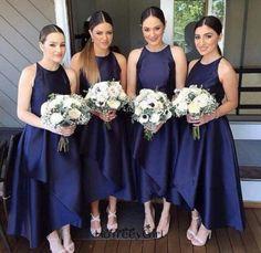 High Low Royal Blue Bridesmaid Dress