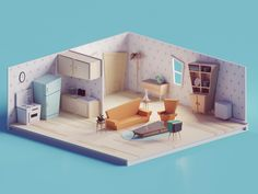 60s/70s Low poly living room by Mohamed Chahin