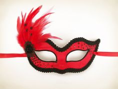 Black And Red Masquerade Mask With Feathers  by SOFFITTA on Etsy