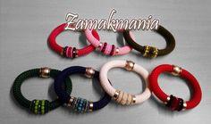 #pulseras cuerda de escalada, zamak y cristal #color / Cord bracelets with zamak and glass #colour
