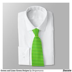 Green and Lime Green Stripes Neck Tie