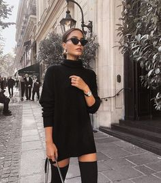 Fall winter fashion black sweater dress sunglasses over the knee boots knee high boots black street style chic inspiration more on fashionchick Winter Fashion Outfits, Fall Winter Outfits, Autumn Winter Fashion, Winter Chic, Winter Clothes, Black Clothes, Casual Winter, Winter Style, Fall Winter Shoes