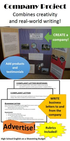 The Company Project combines creativity and real-world writing.  Students create a company-- including products and testimonials.  They will also use that same company as the basis for several business letters.  Advertising rounds out the writing types.  Fun and practical for even reluctant learners.  Rubrics and instructions included.  $