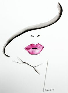 Original Fashion and Beauty Illustration of woman's lips by Helen Simms, simple watercolour portrait painting. £144.00, via Etsy.