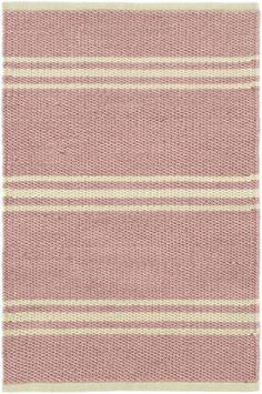 This sweet yet tough combo of pink and natural stripes on ultradurable, easy-clean indoor/outdoor PET is destined to become a favorite. Featuring a goes-with-anything, classic stripe, this area rug can go anywhere, from the kids bedroom to the porch, laundry room, or even bathroom.Made of 100% PET, a polyester fiber made from recycled plastic bottles.In order to achieve its rustic charm, this rug has been woven with large-diameter yarns. Consequently, slubs, knots, and other imperfections…