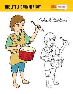 The Little Drummer Boy Clip Art Hand Drawn