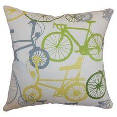 "Cotton pillow with a bicycle motif and down-feather fill.  Product: PillowConstruction Material: Cotton and 95/5 down fillColor: SpringtimeFeatures:  Insert includedSame fabric on both sidesHidden zipper closure Dimensions: 18"" x 18"""