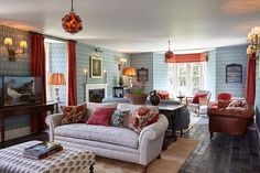 Founder Nick Jones worked with the in-house design team to create charming interiors that are inspired by upstate New York cabin culture yet still reflect a smart English sensibility. Wood accents, vintage pieces, and antiques mix with refined furnishings upholstered in colorful and printed fabrics.