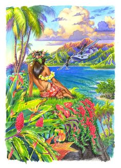 Hawaiian Hula dancer painting, hula girl art by Phil Roberts 22x30 on watercolor paper $100, 11x14 on canvas $150, 16x20 on canvas $250, other sizes available please contact Phil@PhilRoberts.com as this would be a custom order. Artist paint enhancement to brighten, add detail and give you the next best thing to an Original available for additional $100-$200 depending on size!