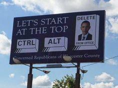 Funny Obama Ctrl Alt Delete Sign