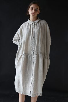 Ichi Antiquites Gather Linen Dress Ice Grey