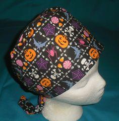 Ladies Halloween Scrubs Pixie Tie Back Scrub Cap Hat Nurses Surgical Caps STUFF ON BLACK