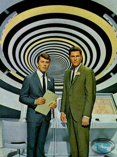"""James Darren and Robert Colbert as the scientists trapped in """"The Time Tunnel,"""" an Irwin Allen produced television series of the 60s Tv Shows, Old Shows, Great Tv Shows, Movies And Tv Shows, Photo Vintage, Vintage Tv, Science Fiction, The Time Tunnel, James Darren"""