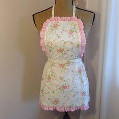 Upcycled Vintage Fabric Bistro Apron Shabby Chic by UppityStuff