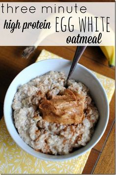 Three Minute High Protein Egg White Oatmeal Recipe - The basic micro recipe. Can add protein powder, raisins and cinnamon for oatmeal cookie, flax seed, chai seed, peanut butter, etc.  Cook 1 minute at time. Very deep dish.