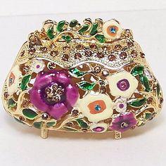 Purse Bag Hollow Flower Jewelry Hinged Trinket Pill Box New Ornament Miniature