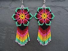 Native American Earrings Huichol Earrings Mexican Earrings   Etsy Seed Bead Earrings, Flower Earrings, Beaded Earrings, Etsy Earrings, Seed Beads, Beaded Jewelry, Beaded Bracelets, Pink Yellow, Pink And Green