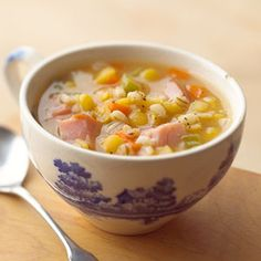 Split Pea Soup with Barley This traditional soup recipe features the tasty trio of barley, ham, and peas.
